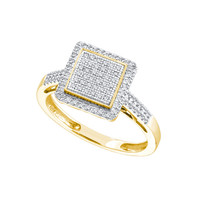 Diamond Sqare Fashion Ring in 10k Gold 0.3 ctw