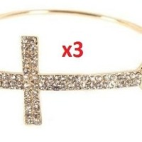 Gold with Clear Iced Out Cross Metal Bangle Bracelet:Amazon:Jewelry