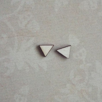 Tiny Wood Triangle Earrings Post Studs wooden jewelry