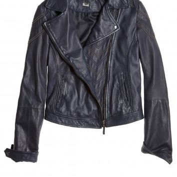 Yucatan Rich Navy Leather Jacket | Calypso St. Barth