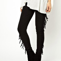 Black High Waist Tassel Fringed Side Skinny Pants