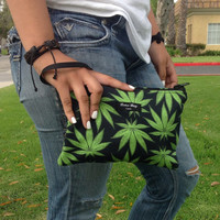 New clutch handbag / makeup bag with marijuana print bud leafs