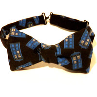 Dr Who Bow Tie Tardis Black Blue Doctor Whovian Self Tie Adjustable Necktie Formal Fandom Wedding Chrismas Gift Police Box Mens Attire Geek