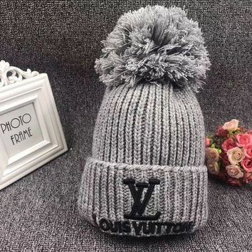 ONETOW Louis Vuitton' Autumn Winter Fashion Letter Embroidery Hairball Knit Hat Women Warm Hat