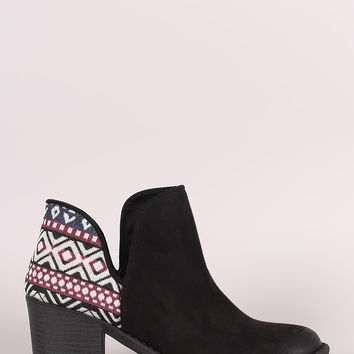 Qupid Tribal Cutout Chunky Heeled Booties