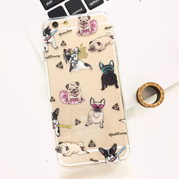 Pugs & Frenchies Dogs Soft Case for iPhone