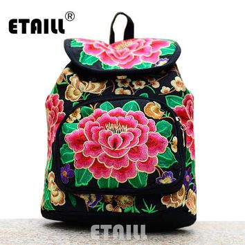 National Trend Ethnic Canvas Embroidery Backpack Women Handmade Boho Thailand Embroidered Bag Schoolbag Rucksack Sac a Dos Femme