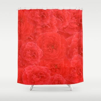 Soft Dreamy Red Rose Collage Shower Curtain by KateLCardsNMore