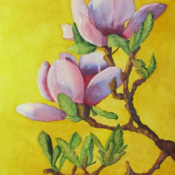 Pink Magnolia Flower Painting Art Print Watercolor, Pink Flower Painting Home Decor, Gift for Her, Gold Green Lavender, Barbara Rosenzweig