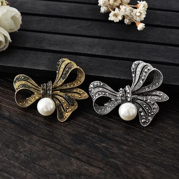 New Retail!!High Quality Vintage Style Rhodium Plated Clear Austria Crystals Imitation Pearl Big Bow Brooch Wedding Accessories