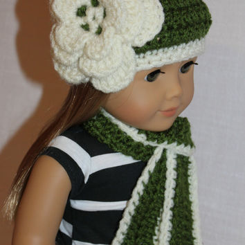 crochet beanie hat with flower, long scarf, fern green and ivory, 18 inch doll clothes