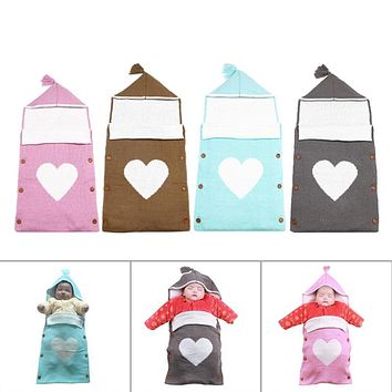 Newborn Baby Sleeping Bag Warm Infant Hooded Stroller Soft Swaddling Wrap Fashion Knitted Blanket Envelope Sleepsacks