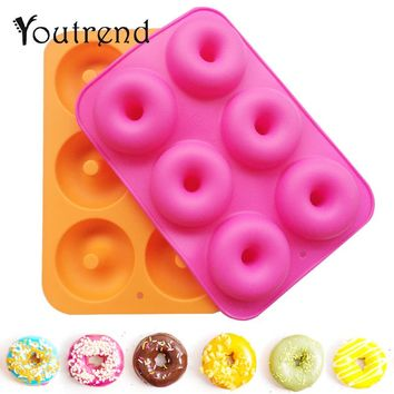 6 Holes Donuts Mold Silicone Round Shape Doughnuts Mould Baking Jelly Fondant Mold Cake Chocolate Decoration Baking Pastry Tool