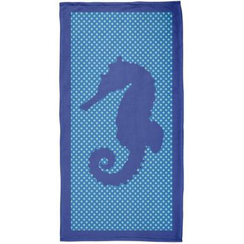 DCCKJY1 Blue Seahorse Polka Dot All Over Plush Beach Towel