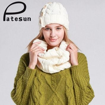 DCCKJG2 PATESUN Women Knitted Hat and Scarf Lady Button Mosaic Beanies Warm Hat Female Winter Autumn Cap Christmas Gift mutsen en sjaals