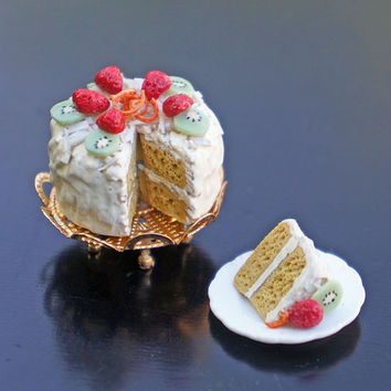 Dollhouse Miniature Layer Cake on Stand with Slice on a Plate - Coconut and Fruit