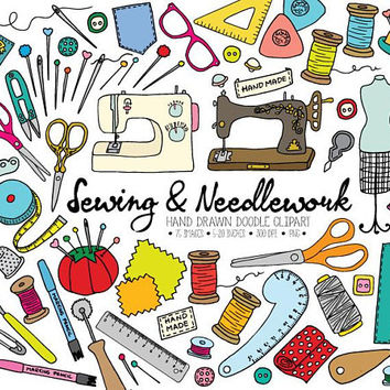 Sewing Clipart. Hand Drawn Dressmaking, Tailor's Clip Art. Crafts, Thread, Mannequin Clipart. Doodle Needle, Sewing Machine, Bobbin, Pins.