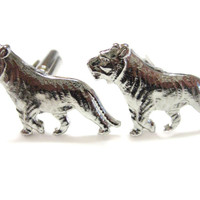 Silver Toned Tiger Cufflinks