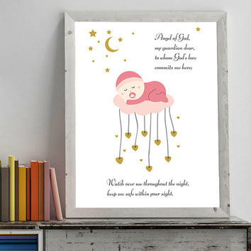 Nursery Decor,  Angel of God, Prayer for child, Printable Nursery, Wall Art Christian Decor, Prints for baby girl, Christening Baptism Gift