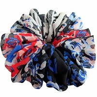 Blue Red Scrunchies for Hair Large Chiffon Tropical Accessories Headband Ponytail Holder Teen Girls Women