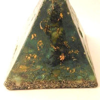 Pyramid Orgonite Blue-Gold-Magic-I, with 15 cm height Shungit Buddha inside-quartz materials-marine-crafted