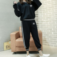 """Adidas"" Women Casual Stripe Letter V-Neck Long Sleeve Trousers Set Two-Piece Sportswear"