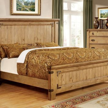 Mallon Country Style Plank Cal-King Bed in Weathered Elm
