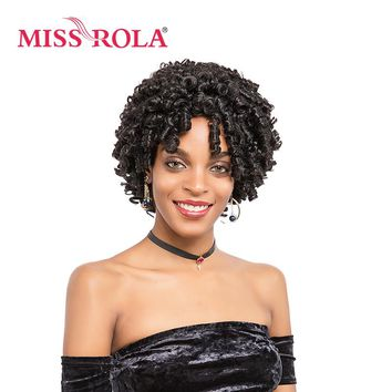 Miss Rola Short Synthetic Wigs 9inch Cosplay Wigs For Black Women Wigs Heat Resistant 1B# Kanekalon Curly Hair Wigs