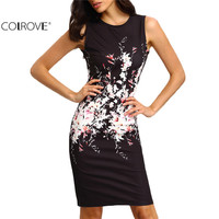 COLROVE Bodycon Dresses, Floral Print Sleeveless Crew Neck Dress