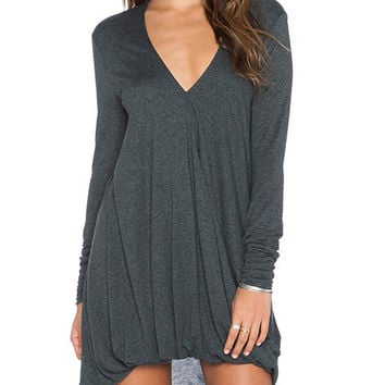 Grey V-Neck Long Sleeve Ruched Long Back Dress