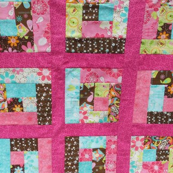 Modern Girl Quilt in Log Cabin pattern with hot pink - birds, flowers, paisley, birdhouses in brown, pink, teal, green bright fabrics