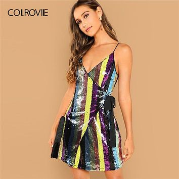 8bbd20e6 COLROVIE Spaghetti Strap Wrap Knot Fitted Cami Sexy Sequin Dress