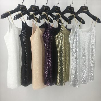 Women's One Size Glitzy Sequined Tank Top Cami With Adjustable Gold Chain Straps
