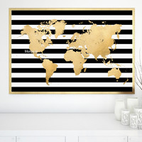 Large printable gold foil world map with black and white stripes