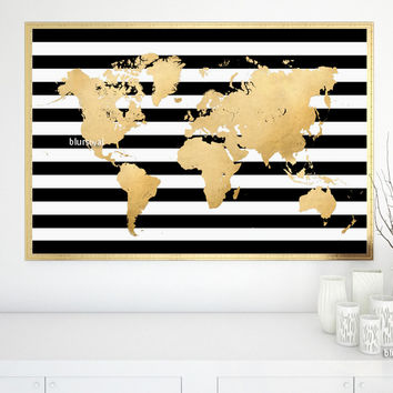 graphic regarding Printable Gold Foil identify Heavy printable gold foil global map with black and white stripes