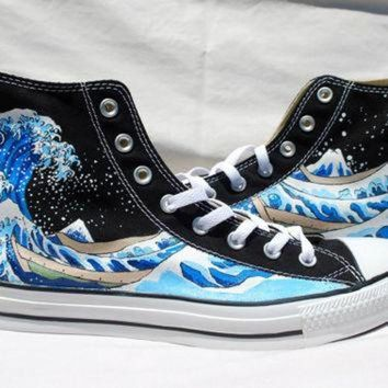 Hand Painted Converse Shoes - The Great Wave Off Kanagawa -black - Beauty Ticks