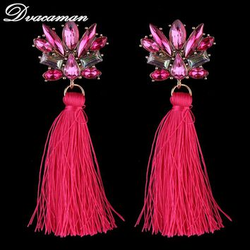 Dvacaman 3 COLORS FIRENZE FRINGE DROPS EARRINGS FOR WOMEN STATEMENT MULTICOLOURED POMPOM EARRINGS DANGLE EARRINGS JEWELRY 6314