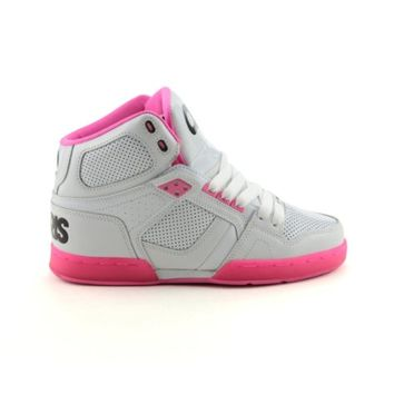 Womens Osiris NYC 83 Slim Skate Shoe, White Pink Zebra, at Journeys Shoes