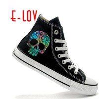 Skeleton Skull Shoes For Women Terror Monster Pattern Painted High Top Shoes