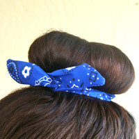 "Wire Bun Wrap, Blue Bandana Bun Wrap Top Knot Wire Wrap ""Mini"" Dolly Bow Wire Headband Ponytail Hair tie Hair Bun Tie Wrap"