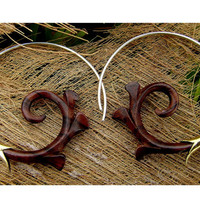 Fake Gauge Earrings - NEW koa wood Tribal Hand Made Fake Piercings Organic