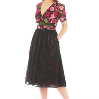 Floral print georgette and floral lace surplice belted dress