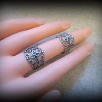 Bohemian jewelry-Antique silver Filigree ring-Double Ring-Knuckle Ring-Adjustable Ring-Armor ring-hippie ring-one size-set of 2