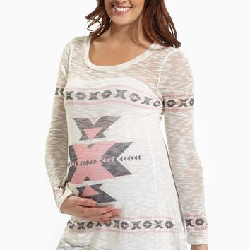 Light Pink Tribal Accent Knit Maternity Top