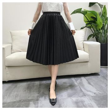 11 11 & Winter New Style PU Accordion Pleated Skirt High Waist Leather Skirt 5-Colors Available Free