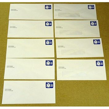 USPS Scott UO74 22c Envelopes Watermark Official Business Lot of 9 Blue -- New