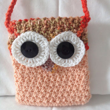 Crochet owl purse little girl purse small purse peach hand bag little girl bag owl bag