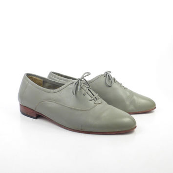 Gray Leather Shoes Vintage 1980s Oxfords Giorgio Brutini men's size 10