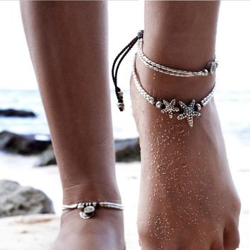 Shiny Stylish Cute Ladies Sexy New Arrival Jewelry Gift Vintage Sea Yoga Pendant Beach Anklet [521518710838]