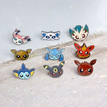 New 9 Styles Eevee Sylveon Umbreon Vaporeon Flareon Jolteon Espeon Glaceon Leafeon Metal Brooch-CPPY